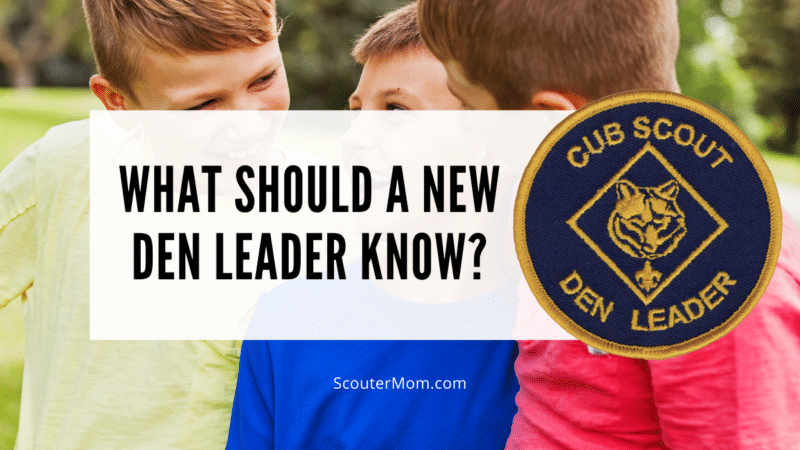 What Should a New Den Leader Know? with an image of three boys having fun and the den leader patch to the right.