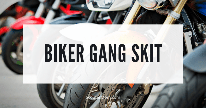 A line of motorcycles indicating the type of bike referred to in this biker gang skit.
