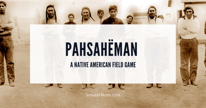 A group of Native American men who could be preparing to play a Native American game like Pahsahëman
