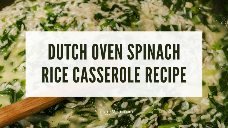 This easy Dutch oven spinach rice casserole can be made by young cooks.