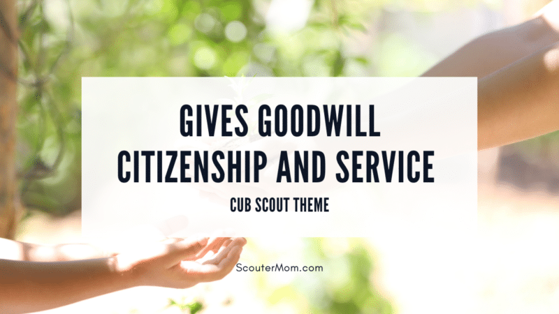 """The title """"Gives Goodwill Citizenship and Service """" overlaid on an image of caring hands."""