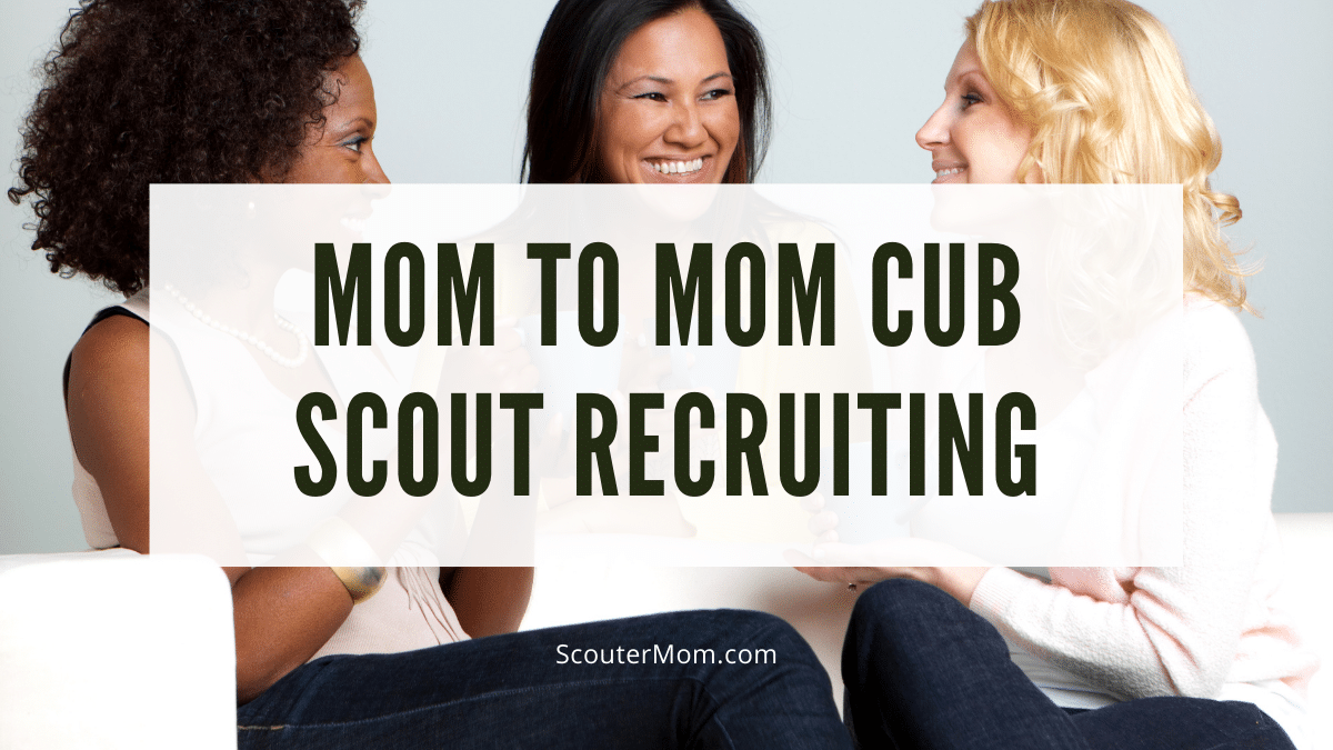 Moms talking together about Cub Scout recruiting
