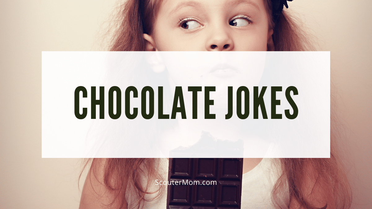 This little girl eating a candy bar with a funny look on her face lets us know that chocolate jokes are here.