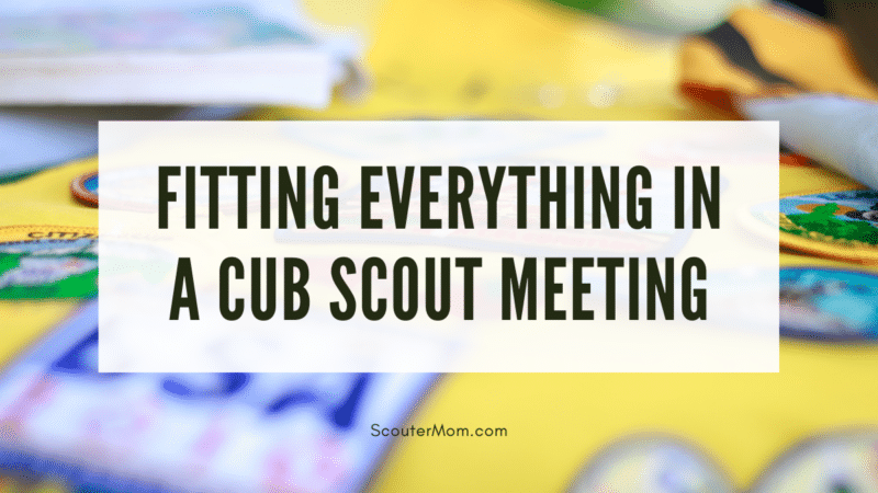 Patches like the ones earned at a Cub Scout meeting