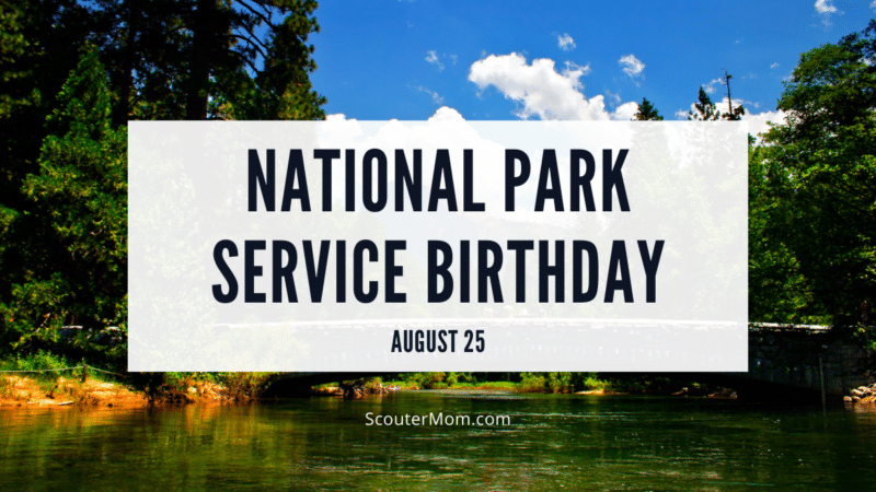 The title National Park Service birthday with the date August 25 over an image of Yosemite National Park. It shows a lovely stream with trees on each side, a blue sky, and fluffy white clouds.