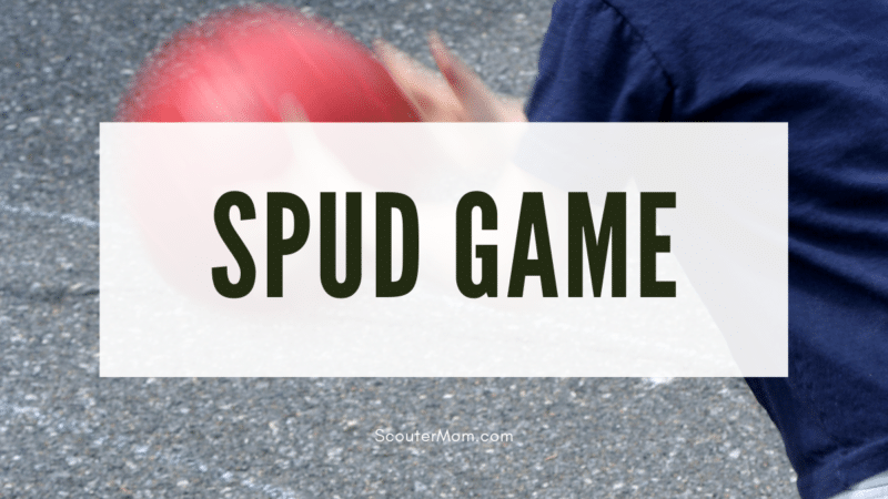 The title Spud Game over an image of a child tossing a playground ball into the air