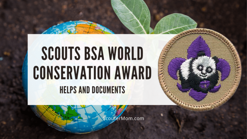 The title Scouts BSA World Conservation Award with an image of the emblem for this award.