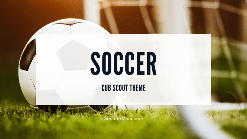 A soccer ball in front of a goal shows that this is a soccer theme for Cub Scouts