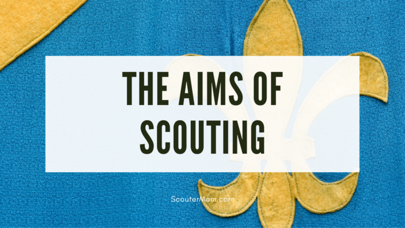 """The title """"The Aims of Scouting"""" over an image of a hand made yellow Fleur de lis on a blue banner, representing Scouting."""