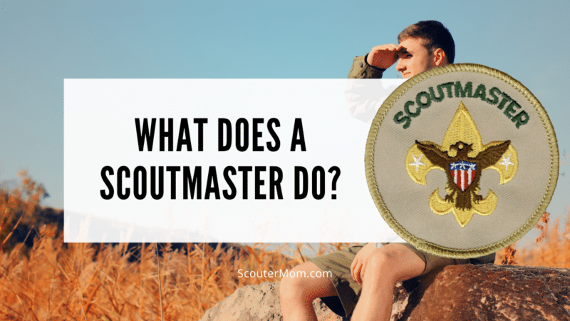 """The title """"What does a Scoutmaster do?"""" with a young Scout leader shading his eyes and looking in the distance. Also includes an image of the Scoutmaster patch."""