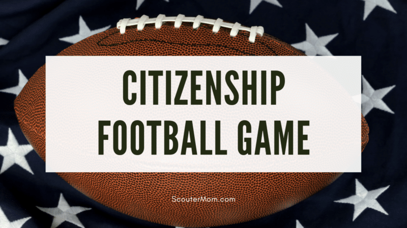 A football on a flag, indicating this is a citizenship football game which uses a football theme to teach civics concepts.