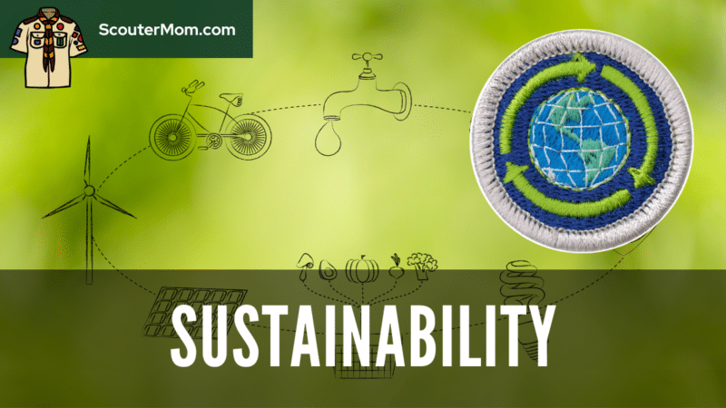 An image with a wind turbine, bicycle, and faucet to show the breadth of topics covered by the Sustainability merit badge requirements.