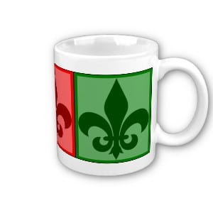 features a colorful block of fleur de lis graphics in blue, green, and red