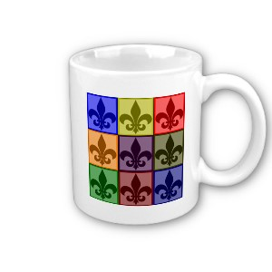 Get this coffee mug for yourself or your favorite Scouter. It features a colorful block of fleur de lis graphics