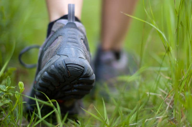 Hiking boots in an outdoor activity