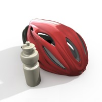 Bike Helmet and Water Bottle