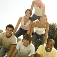 Teenagers in Human Pyramid