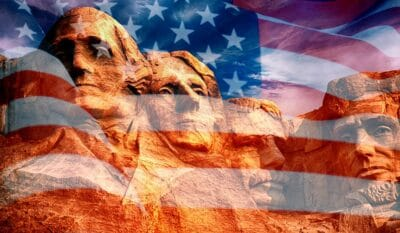 Mount Rushmore Sculpture With US Flag