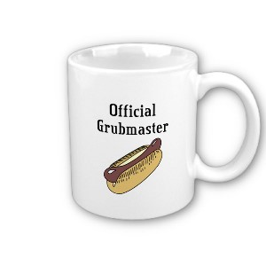 Perfect for the camp cook! This mug reads Official Grubmaster