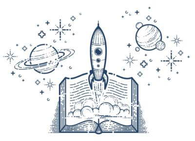 Open Book With Launching Rocket science fiction